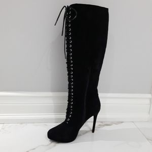 KNEE HIGH FAUX SUEDE HEELED BOOTS PLATFORM FRONT